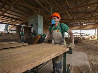 Man with mask sawing timber
