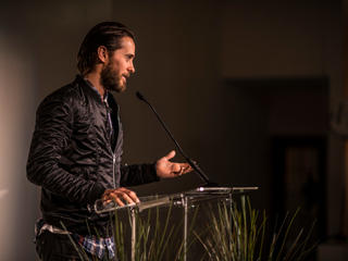 Jared Leto giving remarks