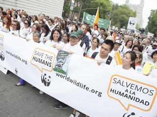 Supporters at the People's Climate March in New York City on Sunday, September 21, 2014. Scenes from the People's Climate March in New York City on Sunday, September 21, 2014. 20.09.2014