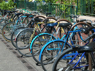 bicycles on a rack