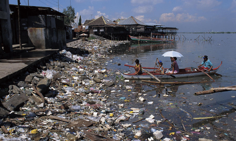 Littered coastline in the philippines