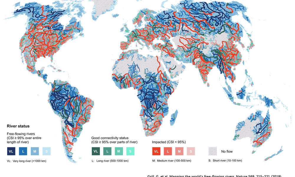 Study: Just One-Third of the World's Longest Rivers Remain Free-Flowing