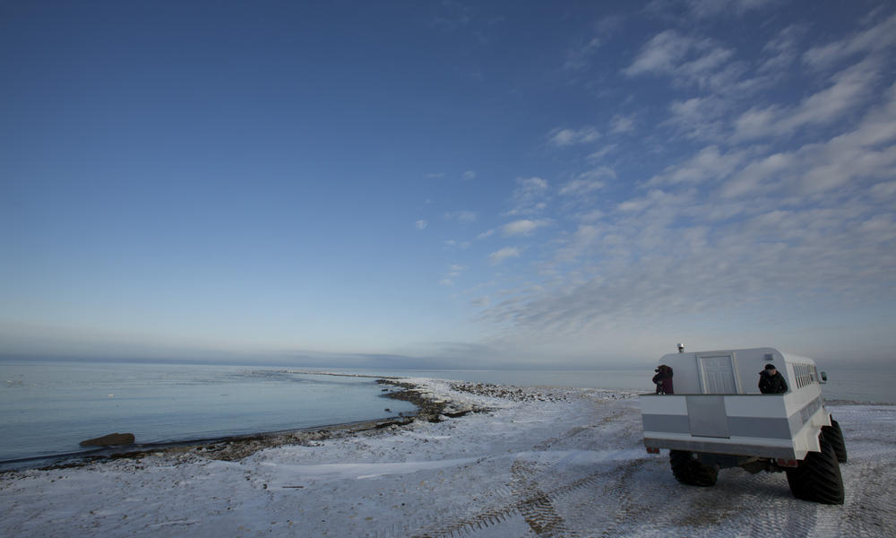 Polar Rover Parked By The Emerging Sea Ice
