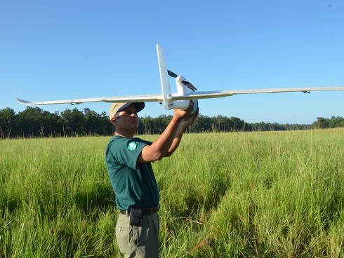 Purusottam Sharpa readies a UAV