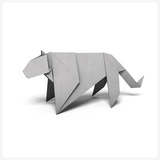 Snow leopard origami