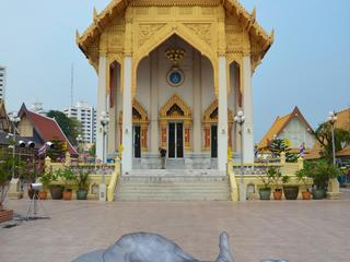 Painting of elephant in front of temple