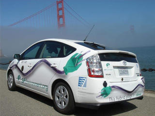 Hybrid Car and Golden Gate Bridge
