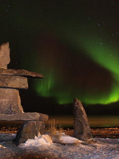 Northern Lights inukshuk Churchill TRAVEL ONLY