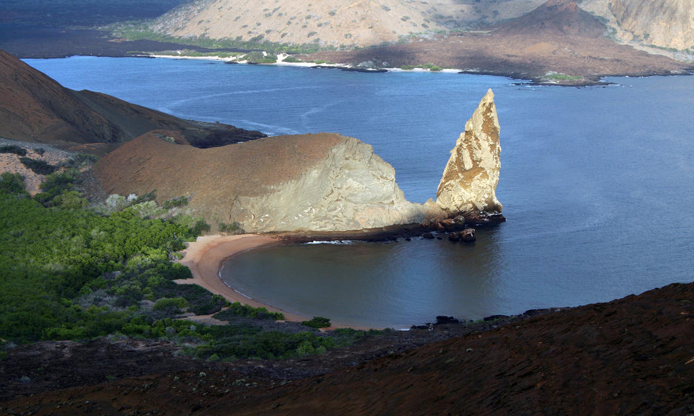 Galapagos lava landscape, the Pinnacle and Bartolome Island 