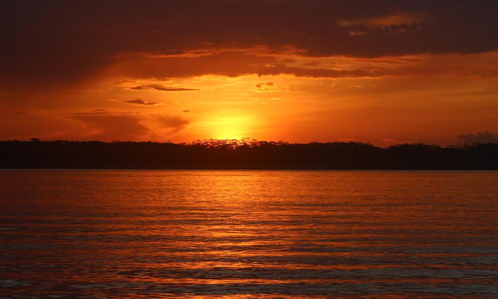 sunset over amazon