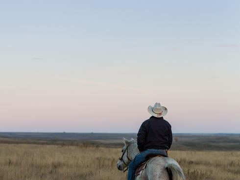 Lyle Perman on his family ranch in Lowry, South Dakota