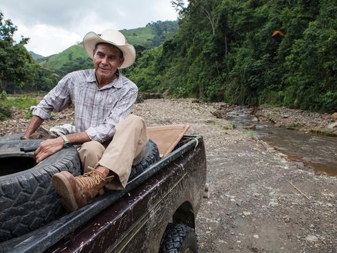 Man in a truck in Honduras