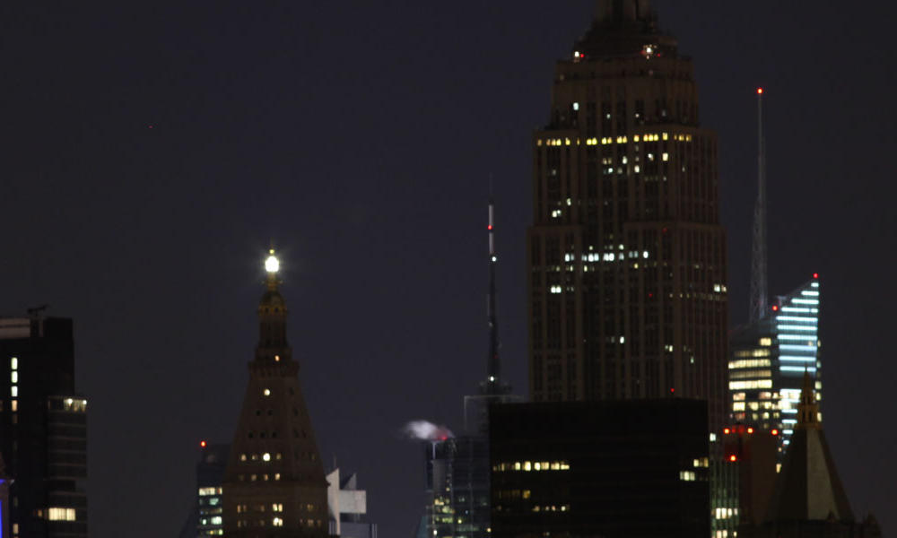 The Empire State Building after the lights were switched off for Earth Hour