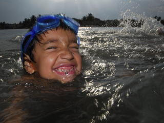 boy in lake