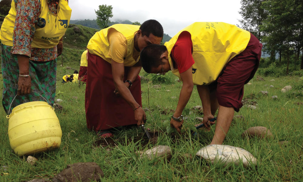 monks digging