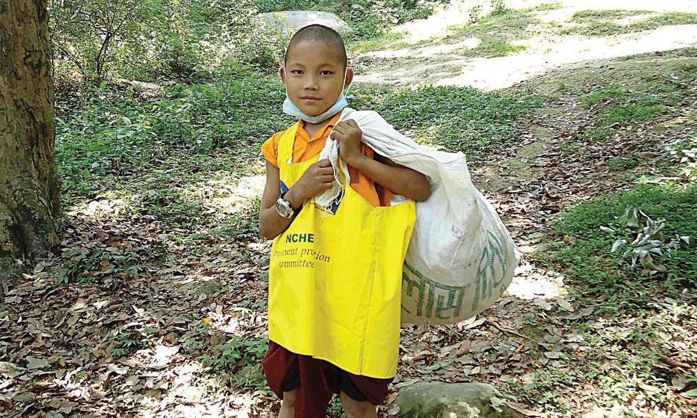 monk holding bag