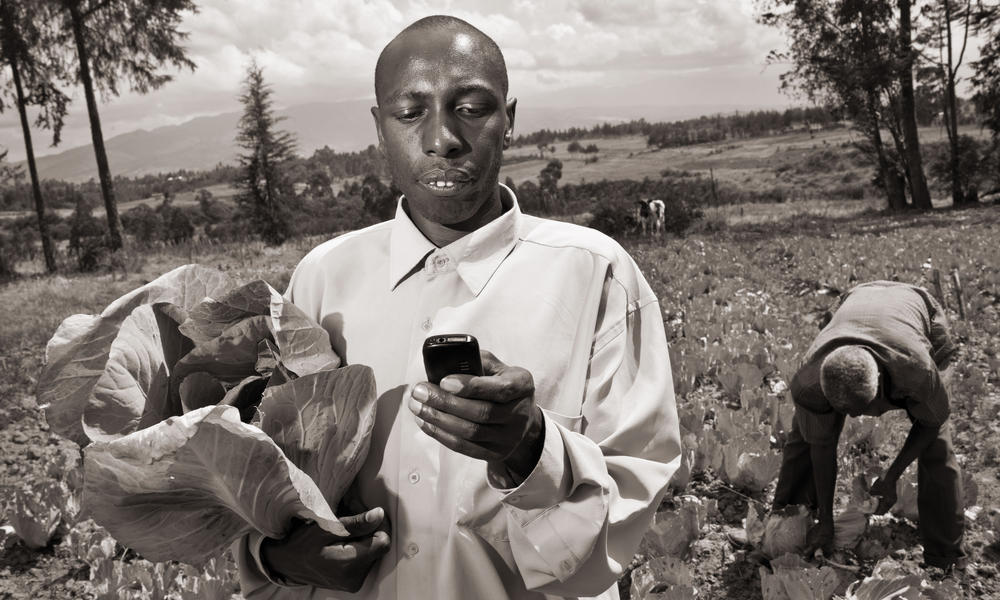 Kenyan farmer sells produce directly to market via cell phone