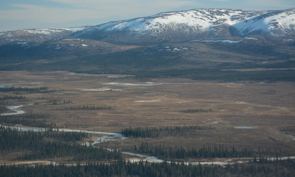 aerial view of pebble mine site