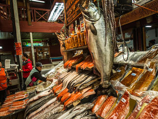 Salmon for sale at the market in Puerto Montt, in southern Chile.