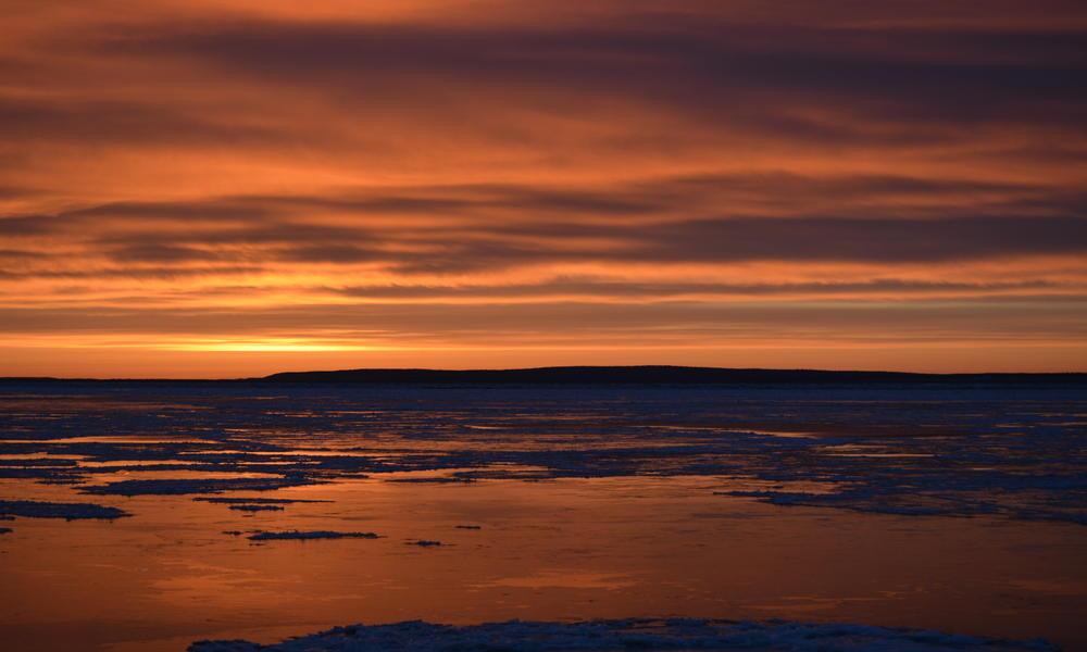 sun rising over bristol bay