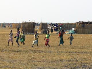 children walking in village